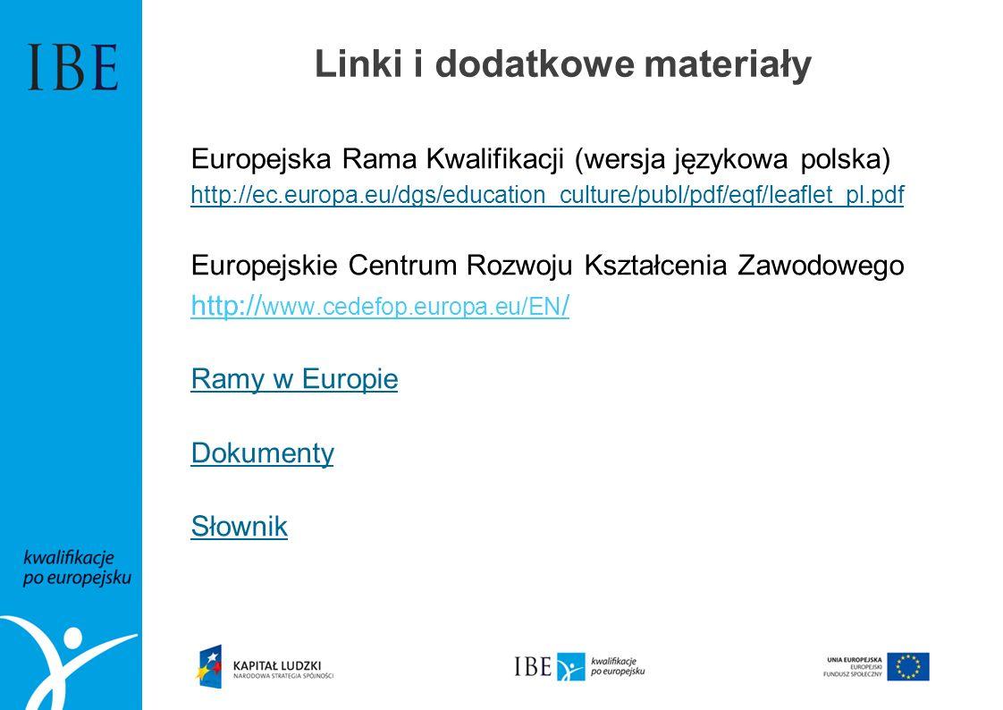 Linki i dodatkowe materiały Europejska Rama Kwalifikacji (wersja językowa polska) http://ec.europa.eu/dgs/education_culture/publ/pdf/eqf/leaflet_pl.pd