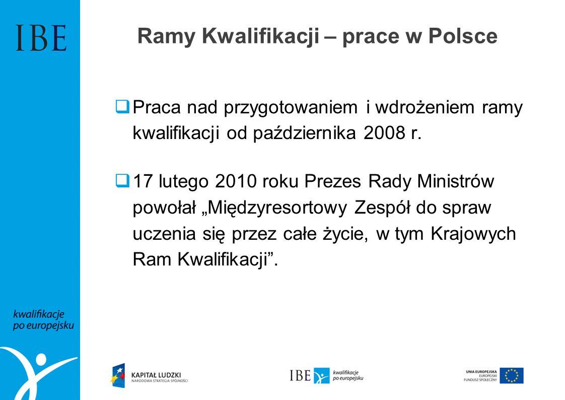 Ramy Kwalifikacji – prace w Polsce Praca nad przygotowaniem i wdrożeniem ramy kwalifikacji od października 2008 r. 17 lutego 2010 roku Prezes Rady Min