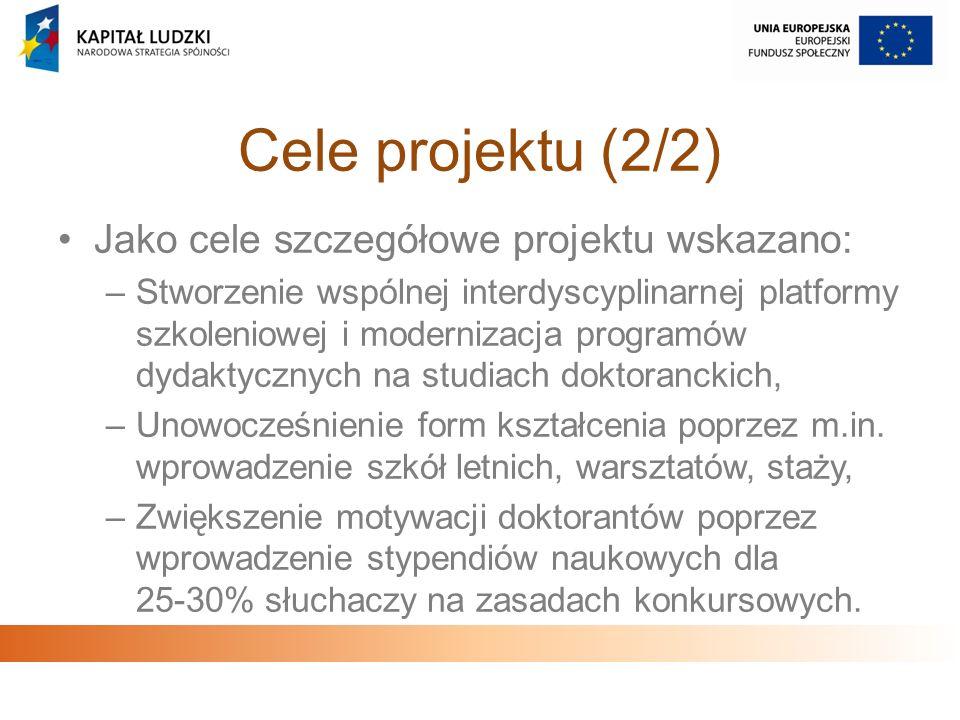 Cele projektu (2/2) Jako cele szczegółowe projektu wskazano: –Stworzenie wspólnej interdyscyplinarnej platformy szkoleniowej i modernizacja programów