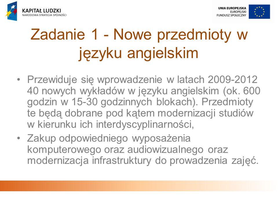 Zadanie 1 - Nowe przedmioty w języku angielskim Przewiduje się wprowadzenie w latach 2009-2012 40 nowych wykładów w języku angielskim (ok. 600 godzin