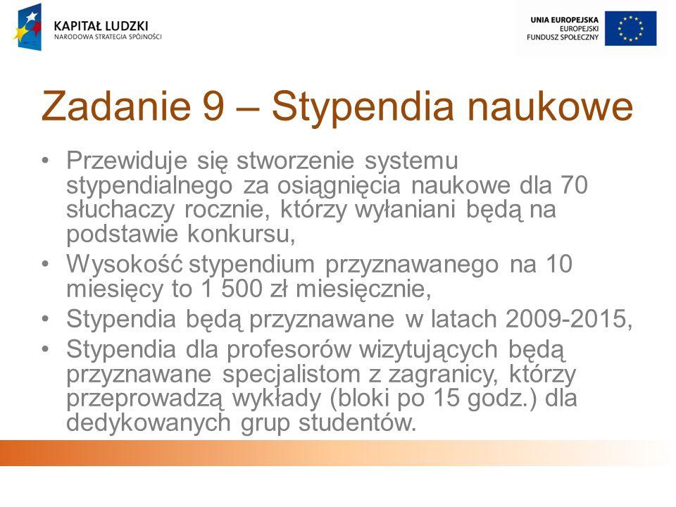 Zadanie 9 – Stypendia naukowe Przewiduje się stworzenie systemu stypendialnego za osiągnięcia naukowe dla 70 słuchaczy rocznie, którzy wyłaniani będą