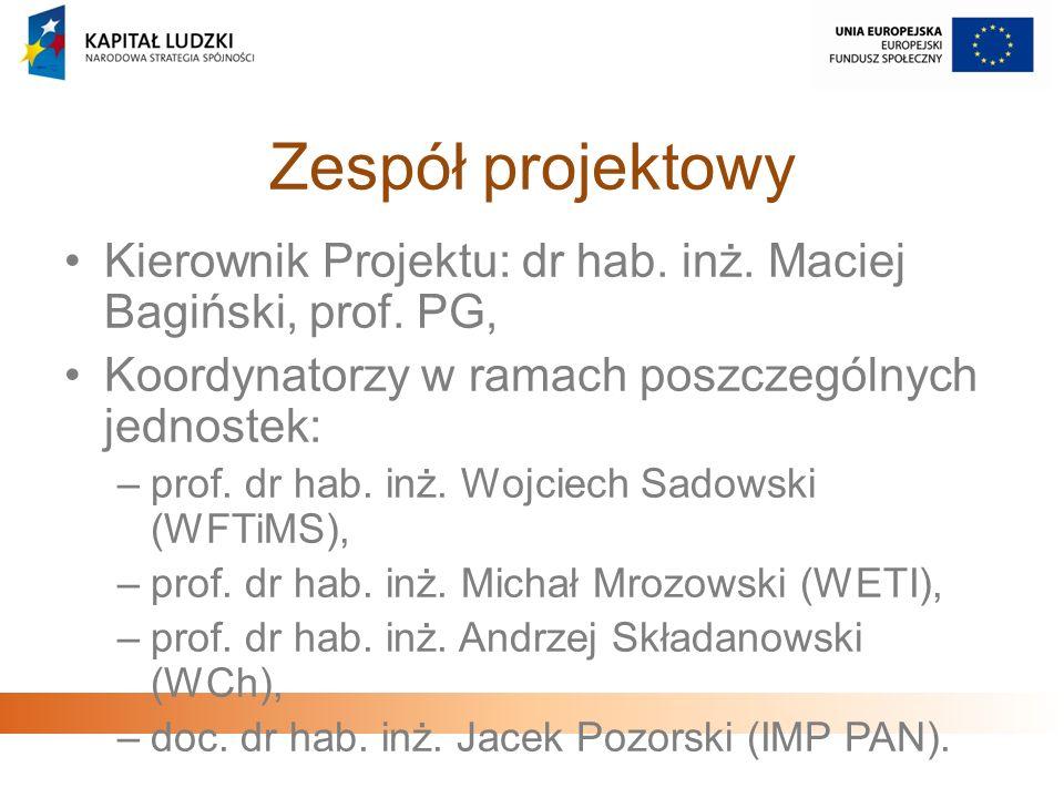 Zespół projektowy Kierownik Projektu: dr hab. inż. Maciej Bagiński, prof. PG, Koordynatorzy w ramach poszczególnych jednostek: –prof. dr hab. inż. Woj