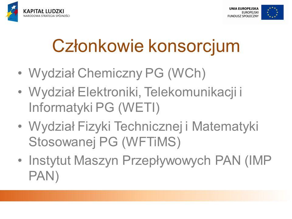 Członkowie konsorcjum Wydział Chemiczny PG (WCh) Wydział Elektroniki, Telekomunikacji i Informatyki PG (WETI) Wydział Fizyki Technicznej i Matematyki