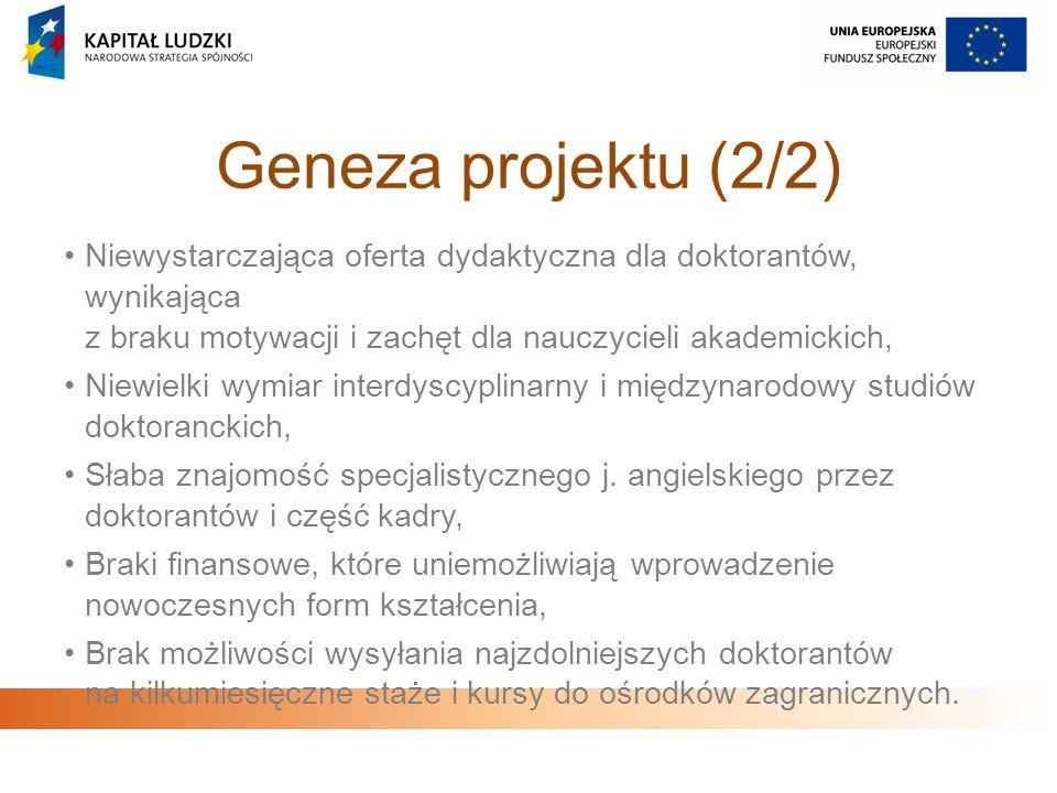 Geneza projektu (2/2) Niewystarczająca oferta dydaktyczna dla doktorantów, wynikająca z braku motywacji i zachęt dla nauczycieli akademickich, Niewiel