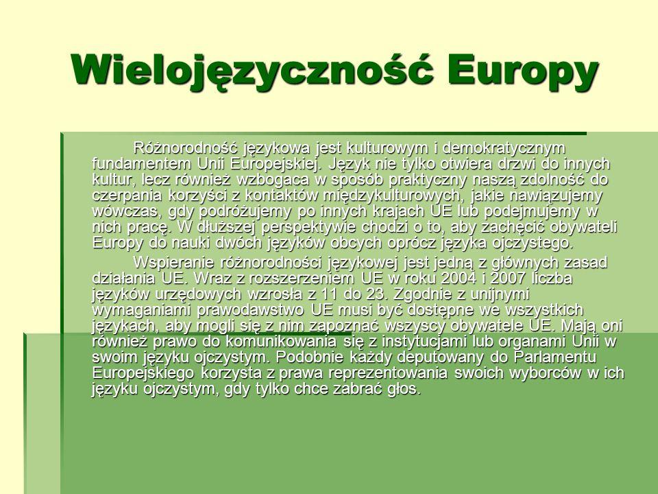 Wielojęzyczność Europy Różnorodność językowa jest kulturowym i demokratycznym fundamentem Unii Europejskiej. Język nie tylko otwiera drzwi do innych k