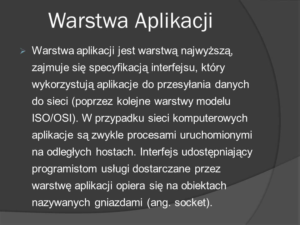Warstwa Aplikacji Warstwa aplikacji jest warstwą najwyższą, zajmuje się specyfikacją interfejsu, który wykorzystują aplikacje do przesyłania danych do
