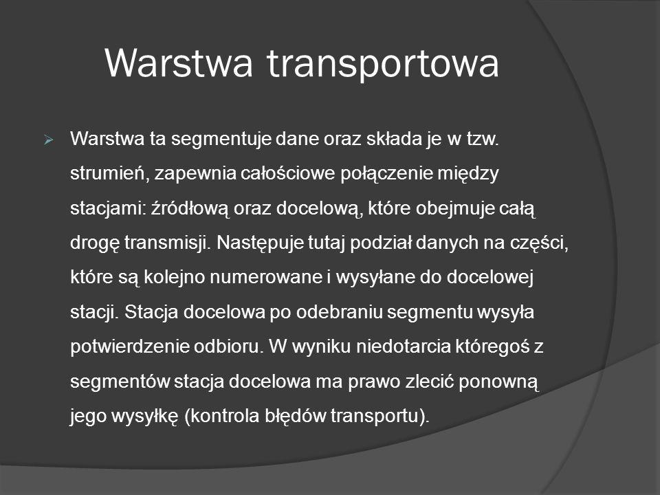Warstwa transportowa Warstwa ta segmentuje dane oraz składa je w tzw. strumień, zapewnia całościowe połączenie między stacjami: źródłową oraz docelową