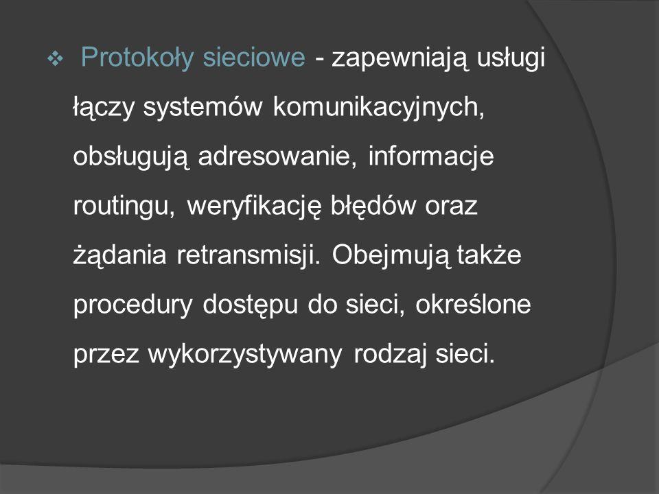 Protokoły sieciowe - zapewniają usługi łączy systemów komunikacyjnych, obsługują adresowanie, informacje routingu, weryfikację błędów oraz żądania ret
