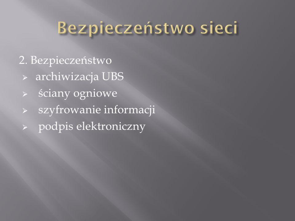 2. Bezpieczeństwo archiwizacja UBS ściany ogniowe szyfrowanie informacji podpis elektroniczny