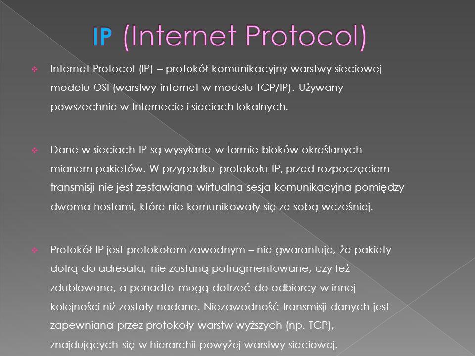 Internet Protocol (IP) – protokół komunikacyjny warstwy sieciowej modelu OSI (warstwy internet w modelu TCP/IP). Używany powszechnie w Internecie i si