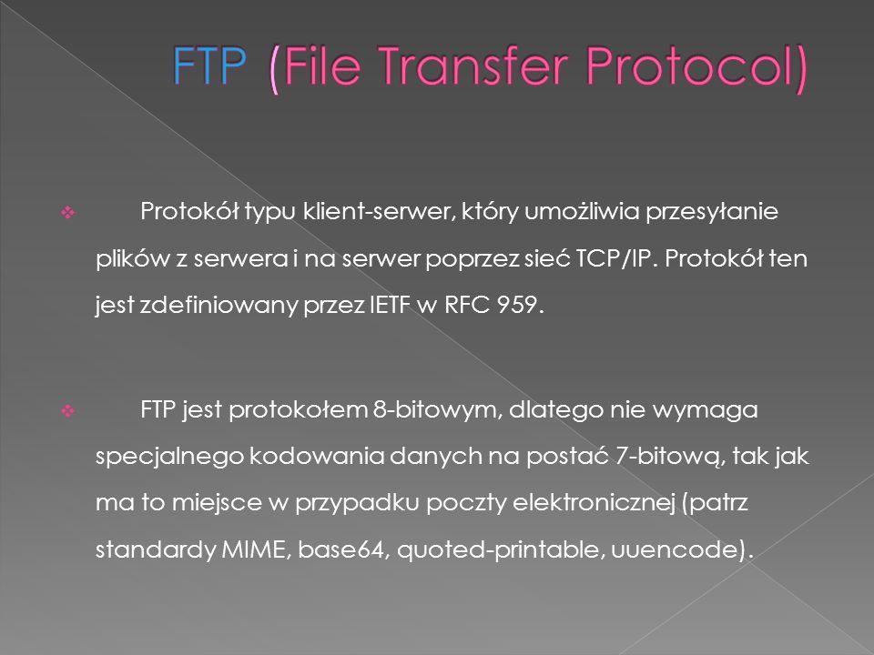 Protokół typu klient-serwer, który umożliwia przesyłanie plików z serwera i na serwer poprzez sieć TCP/IP. Protokół ten jest zdefiniowany przez IETF w