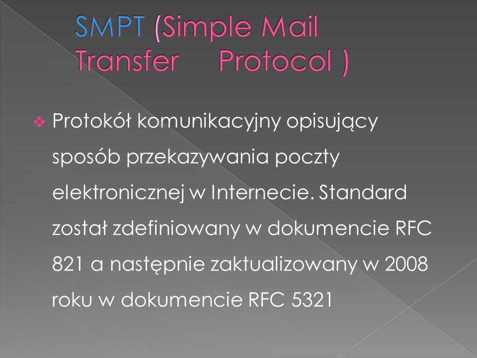 Protokół komunikacyjny opisujący sposób przekazywania poczty elektronicznej w Internecie. Standard został zdefiniowany w dokumencie RFC 821 a następni