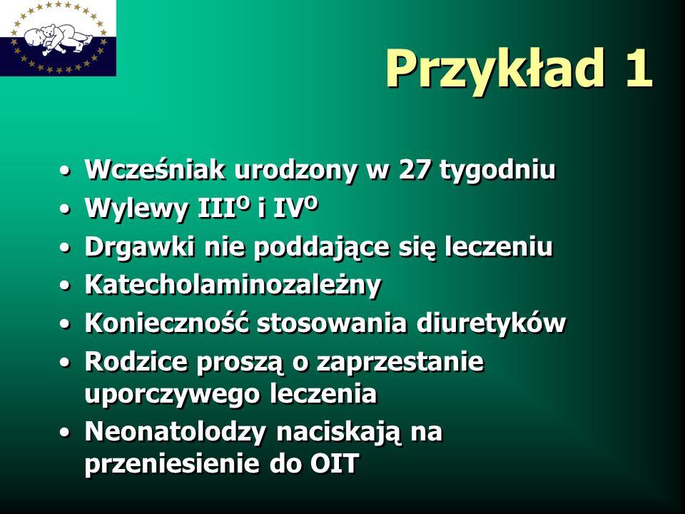 Przykład 1 Wcześniak urodzony w 27 tygodniu Wylewy III O i IV O Drgawki nie poddające się leczeniu Katecholaminozależny Konieczność stosowania diurety