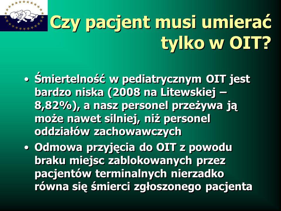 Czy pacjent musi umierać tylko w OIT? Śmiertelność w pediatrycznym OIT jest bardzo niska (2008 na Litewskiej – 8,82%), a nasz personel przeżywa ją moż