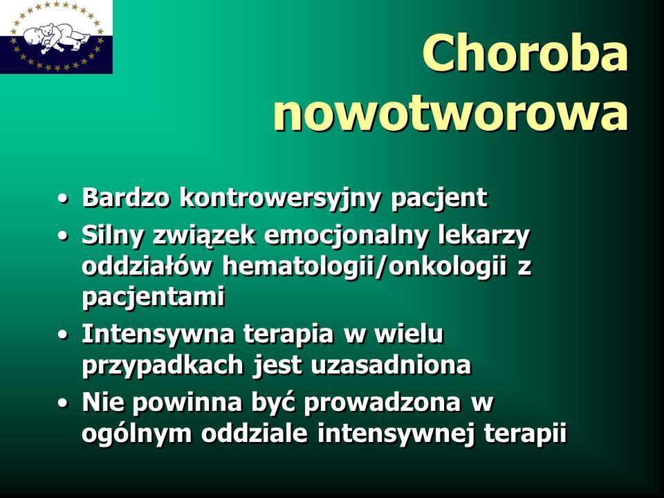 Choroba nowotworowa Bardzo kontrowersyjny pacjent Silny związek emocjonalny lekarzy oddziałów hematologii/onkologii z pacjentami Intensywna terapia w