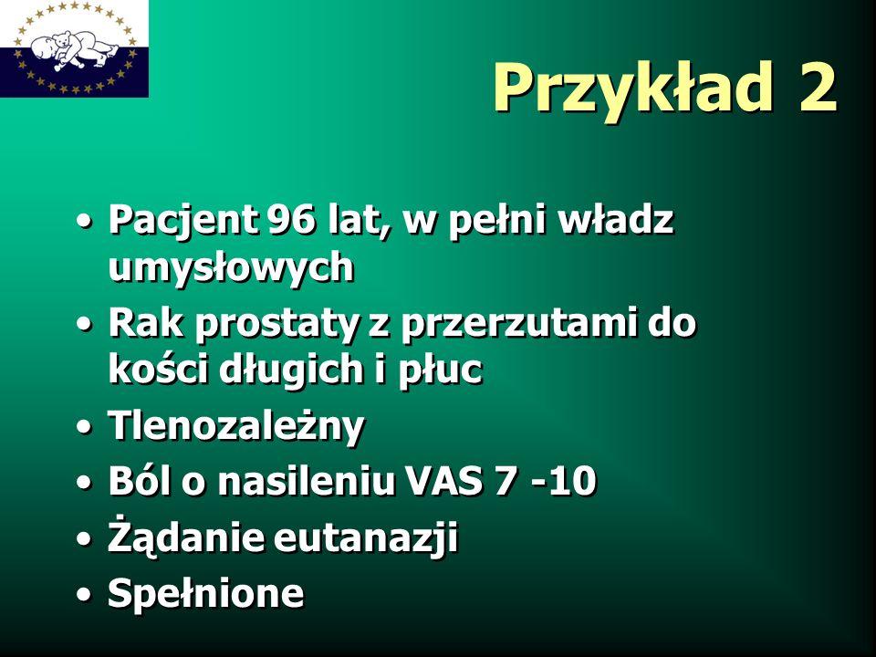 Przykład 2 Pacjent 96 lat, w pełni władz umysłowych Rak prostaty z przerzutami do kości długich i płuc Tlenozależny Ból o nasileniu VAS 7 -10 Żądanie