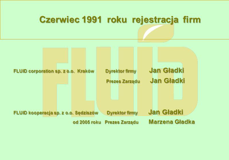 Czerwiec 1991 roku rejestracja firm FLUID corporation sp. z o.o. Kraków Dyrektor firmy Jan Gładki Prezes Zarządu Jan Gładki Prezes Zarządu Jan Gładki