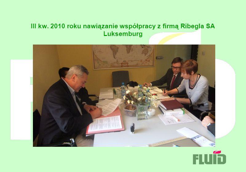 III kw. 2010 roku nawiązanie współpracy z firmą Ribegla SA Luksemburg