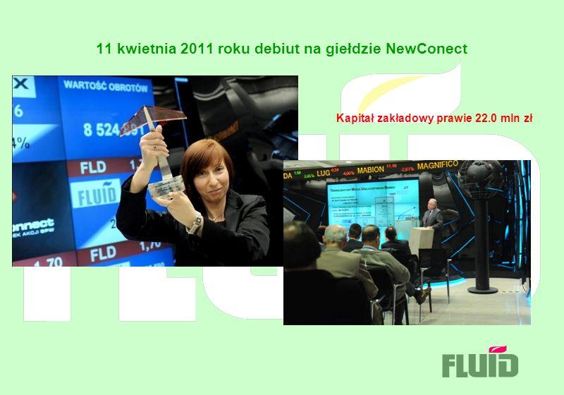 11 kwietnia 2011 roku debiut na giełdzie NewConect Kapitał zakładowy prawie 22.0 mln zł
