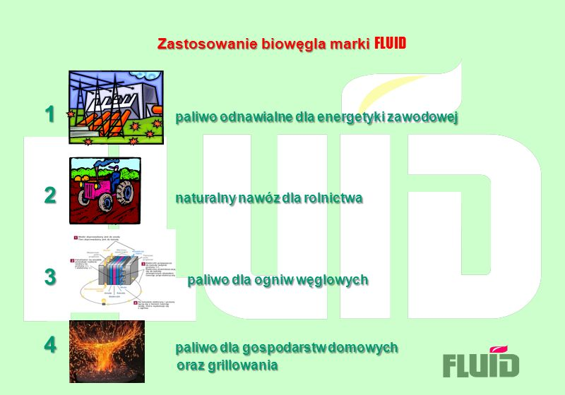 Zastosowanie biowęgla marki Zastosowanie biowęgla marki FLUID 1 paliwo odnawialne dla energetyki zawodowej 2 naturalny nawóz dla rolnictwa 3 paliwo dl