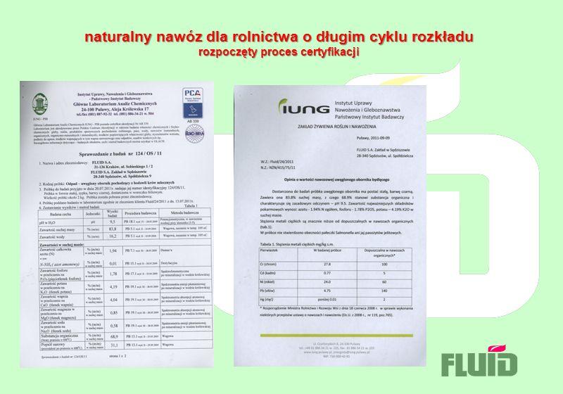 naturalny nawóz dla rolnictwa o długim cyklu rozkładu rozpoczęty proces certyfikacji