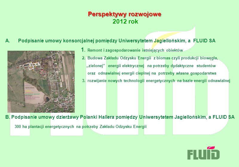 Perspektywy rozwojowe Perspektywy rozwojowe 2012 rok A. Podpisanie umowy konsorcjalnej pomiędzy Uniwersytetem Jagiellońskim, a FLUID SA 1. Remont i za