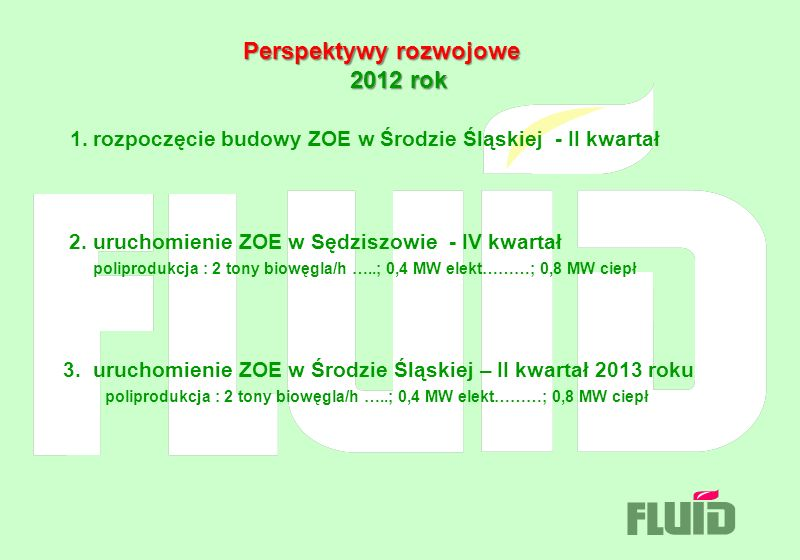 Perspektywy rozwojowe 2012 rok Perspektywy rozwojowe 2012 rok 1. rozpoczęcie budowy ZOE w Środzie Śląskiej - II kwartał 2. uruchomienie ZOE w Sędziszo