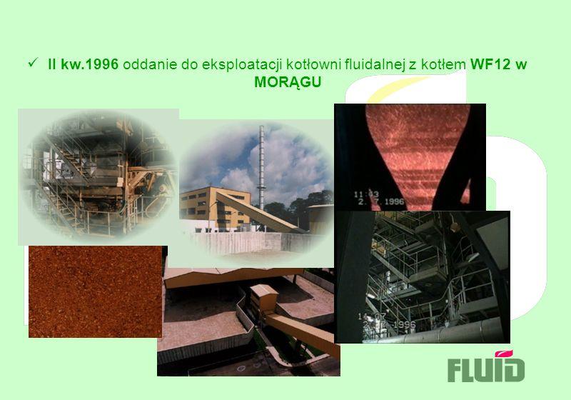 II kw.1996 oddanie do eksploatacji kotłowni fluidalnej z kotłem WF12 w MORĄGU