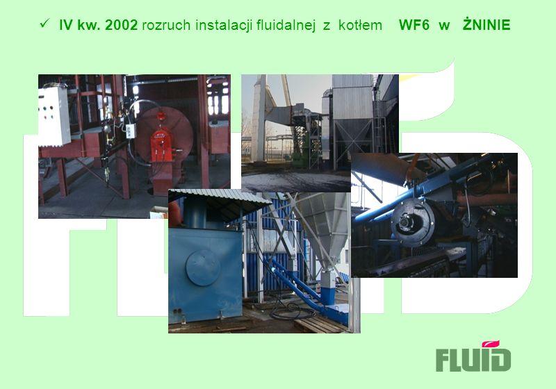 IV kw. 2002 rozruch instalacji fluidalnej z kotłem WF6 w ŻNINIE