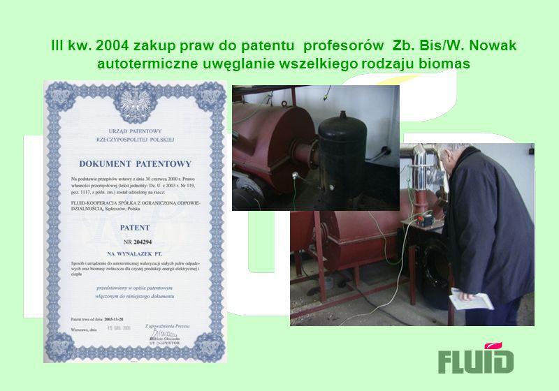 III kw. 2004 zakup praw do patentu profesorów Zb. Bis/W. Nowak autotermiczne uwęglanie wszelkiego rodzaju biomas