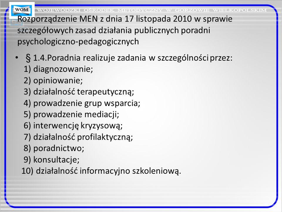 Rozporządzenie MEN z dnia 17 listopada 2010 w sprawie szczegółowych zasad działania publicznych poradni psychologiczno-pedagogicznych § 6.1 Poradnia realizuje zadania przy pomocy specjalistów: psychologów, pedagogów, logopedów i doradców zawodowych.