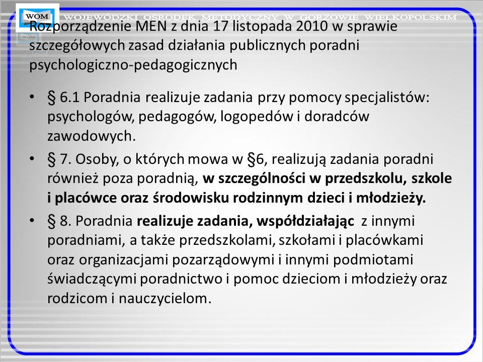 Rozporządzenie MEN z dnia 17 listopada 2010 w sprawie zasad udzielania i organizacji pomocy psychologiczno-pedagogicznej w publicznych przedszkolach, szkołach i placówkach szkoła §1.