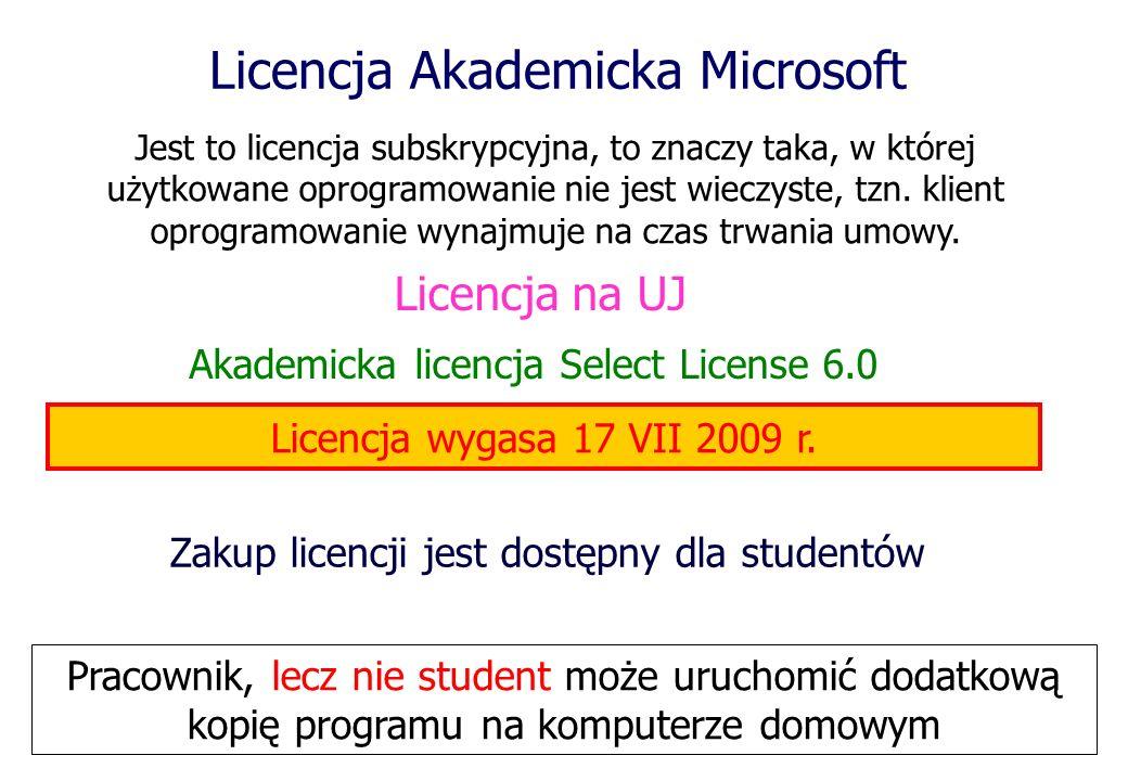 Licencja Akademicka Microsoft Akademicka licencja Select License 6.0 Zakup licencji jest dostępny dla studentów Jest to licencja subskrypcyjna, to zna