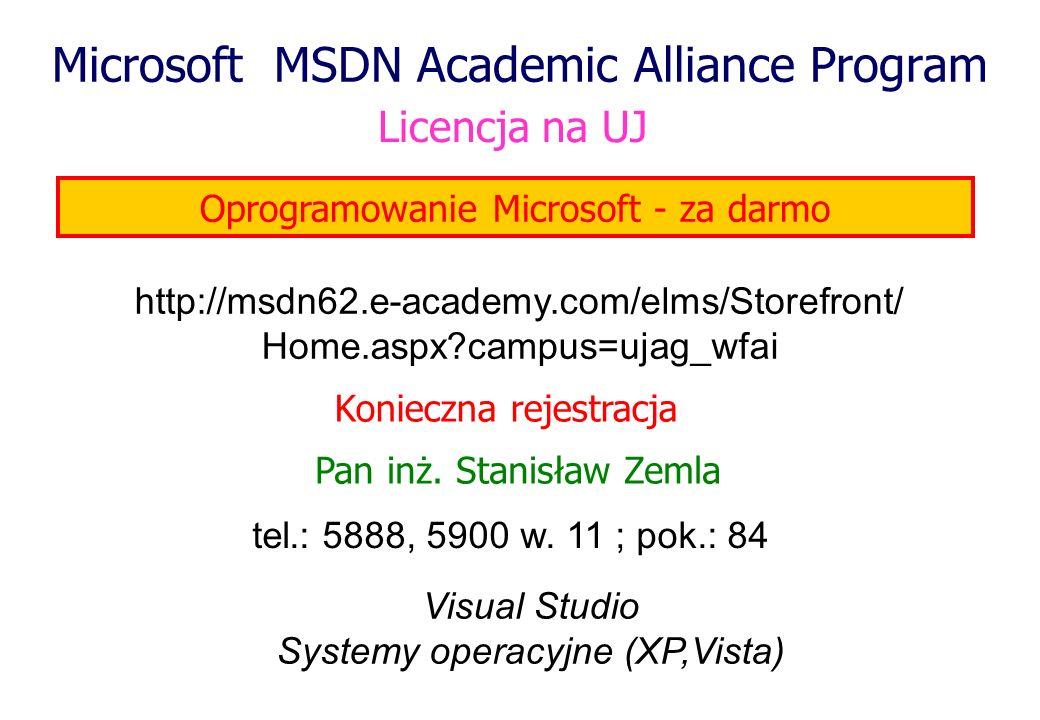 Microsoft MSDN Academic Alliance Program Pan inż. Stanisław Zemla Oprogramowanie Microsoft - za darmo Licencja na UJ tel.: 5888, 5900 w. 11 ; pok.: 84