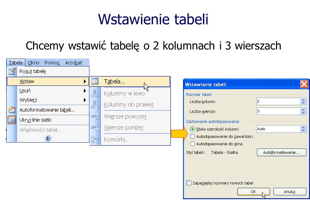 Wstawienie tabeli Chcemy wstawić tabelę o 2 kolumnach i 3 wierszach