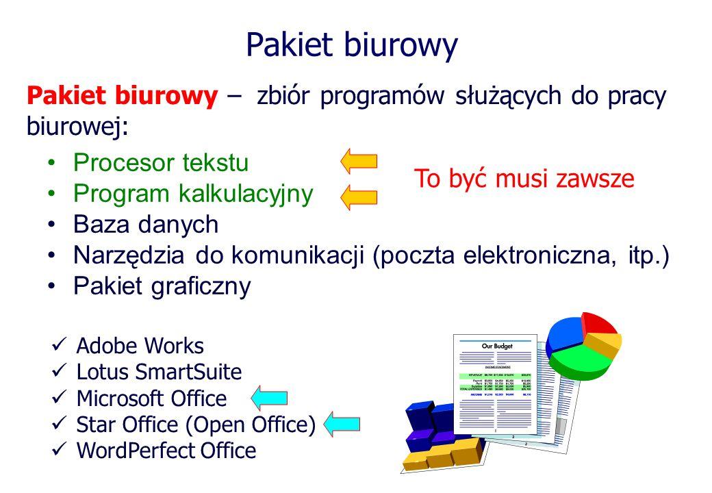 Pakiet biurowy Pakiet biurowy – zbiór programów służących do pracy biurowej: Procesor tekstu Program kalkulacyjny Baza danych Narzędzia do komunikacji
