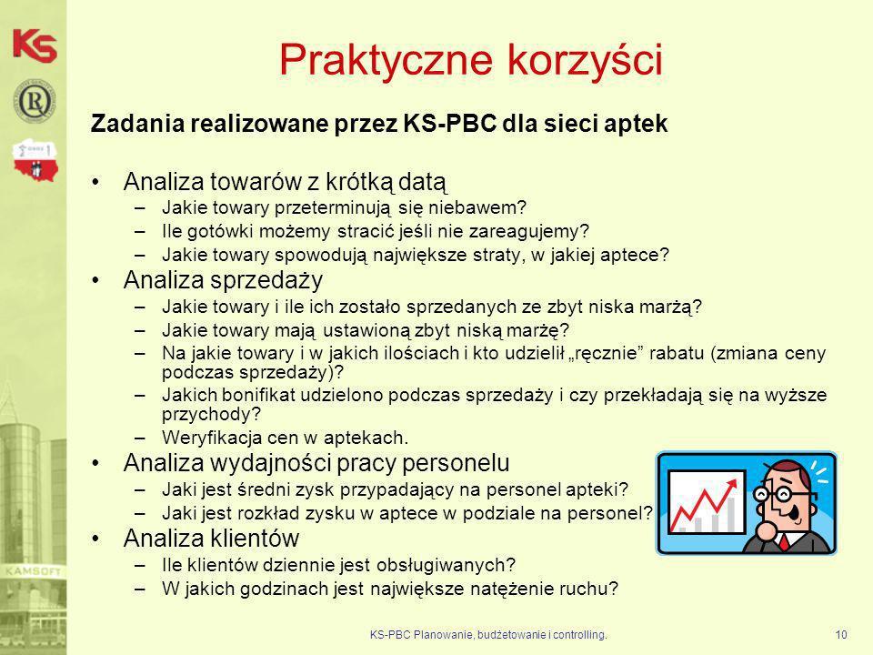 KS-PBC Planowanie, budżetowanie i controlling.10 Praktyczne korzyści Zadania realizowane przez KS-PBC dla sieci aptek Analiza towarów z krótką datą –J