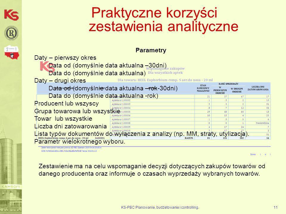 KS-PBC Planowanie, budżetowanie i controlling.11 Praktyczne korzyści zestawienia analityczne Zestawienie ma na celu wspomaganie decyzji dotyczących za