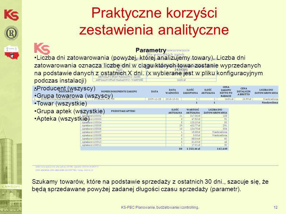 Praktyczne korzyści zestawienia analityczne KS-PBC Planowanie, budżetowanie i controlling.12 Parametry Liczba dni zatowarowania (powyżej, której anali