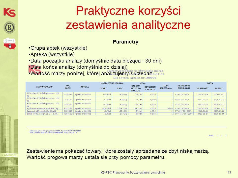 Praktyczne korzyści zestawienia analityczne KS-PBC Planowanie, budżetowanie i controlling.13 Parametry Grupa aptek (wszystkie) Apteka (wszystkie) Data