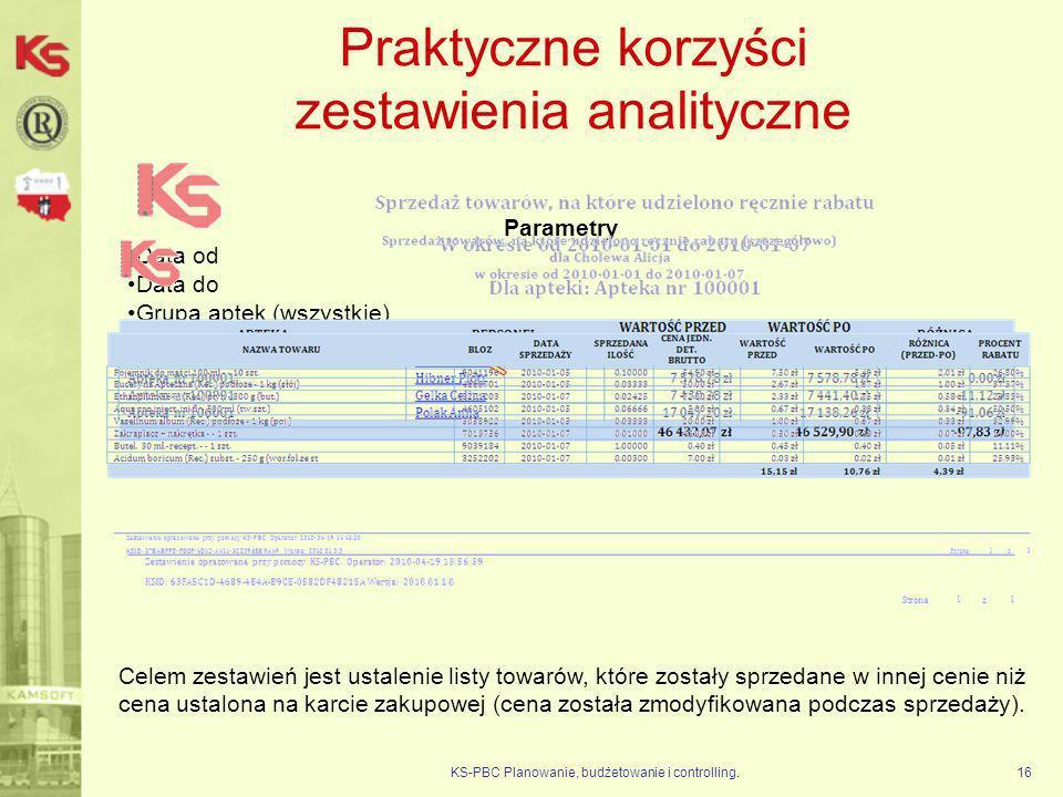Praktyczne korzyści zestawienia analityczne KS-PBC Planowanie, budżetowanie i controlling.16 Parametry Data od Data do Grupa aptek (wszystkie) Apteka