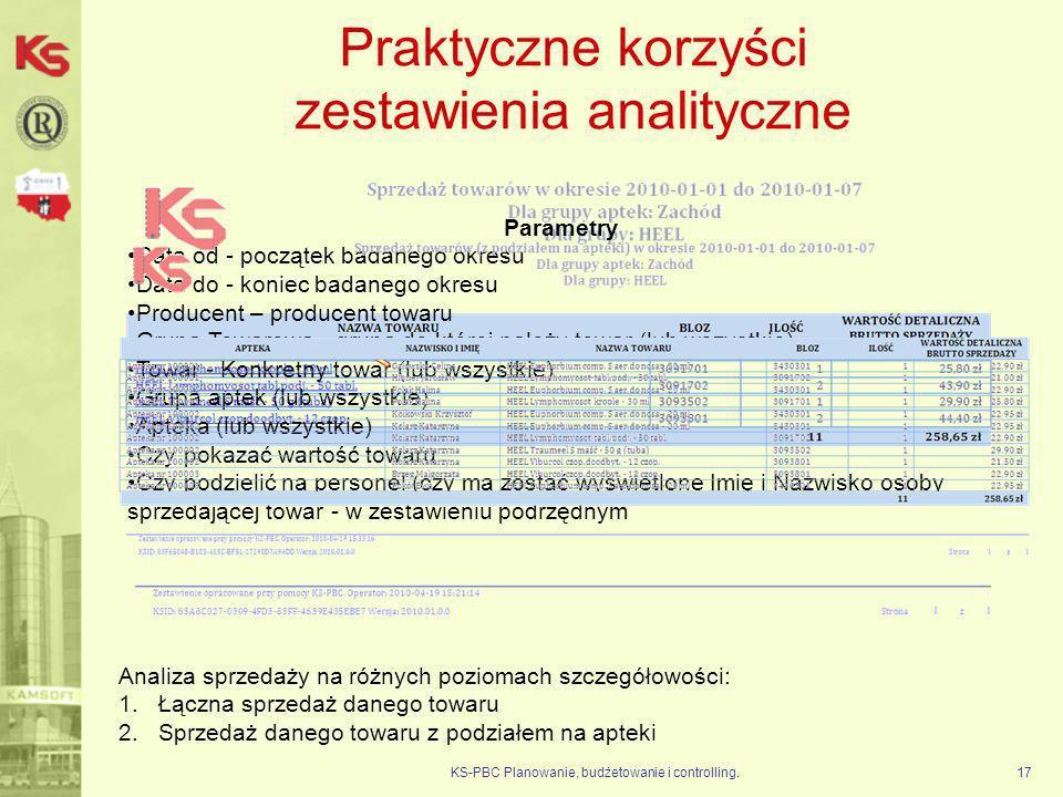 Praktyczne korzyści zestawienia analityczne KS-PBC Planowanie, budżetowanie i controlling.17 Parametry Data od - początek badanego okresu Data do - ko
