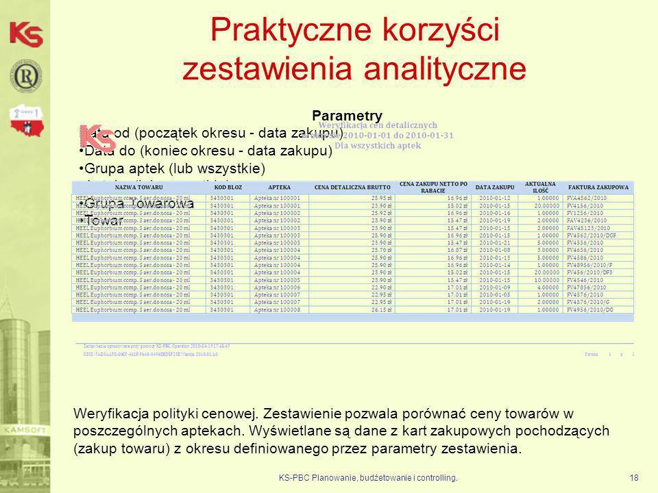 Praktyczne korzyści zestawienia analityczne KS-PBC Planowanie, budżetowanie i controlling.18 Parametry Data od (początek okresu - data zakupu) Data do