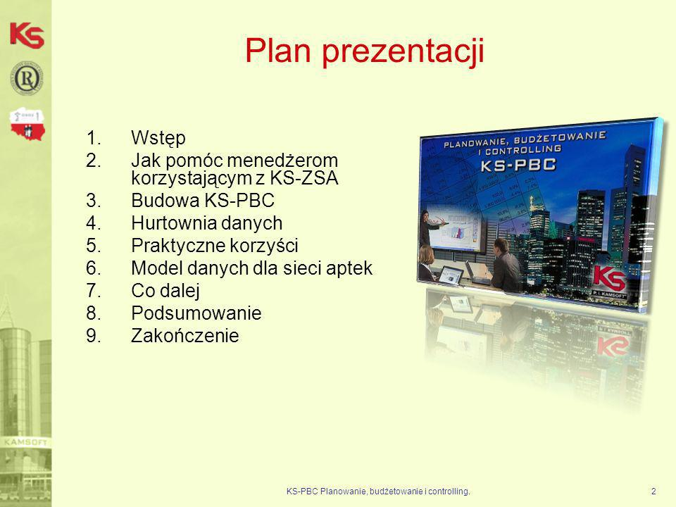 KS-PBC Planowanie, budżetowanie i controlling.3 Wstęp KS-PBC dla sieci aptek to narzędzie analityczne pozwalające na opracowanie szerokiego wachlarza zestawień i analiz opartych na danych pochodzących z oprogramowania do zarządzania siecią aptek KS-ZSA.