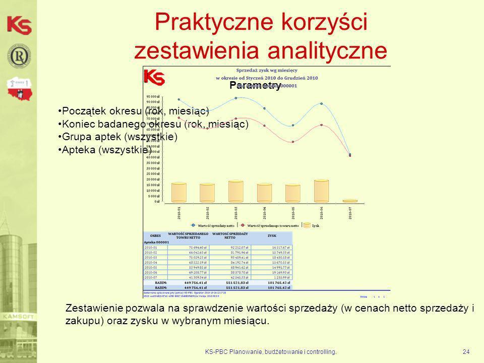 Praktyczne korzyści zestawienia analityczne KS-PBC Planowanie, budżetowanie i controlling.24 Parametry Początek okresu (rok, miesiąc) Koniec badanego