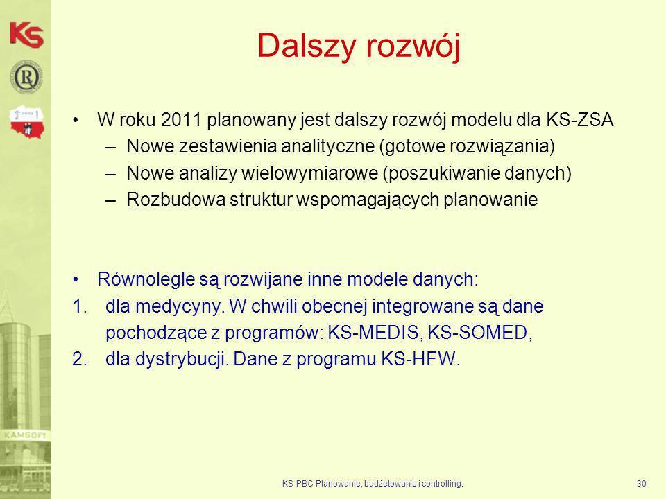 KS-PBC Planowanie, budżetowanie i controlling.30 Dalszy rozwój W roku 2011 planowany jest dalszy rozwój modelu dla KS-ZSA –Nowe zestawienia analityczn