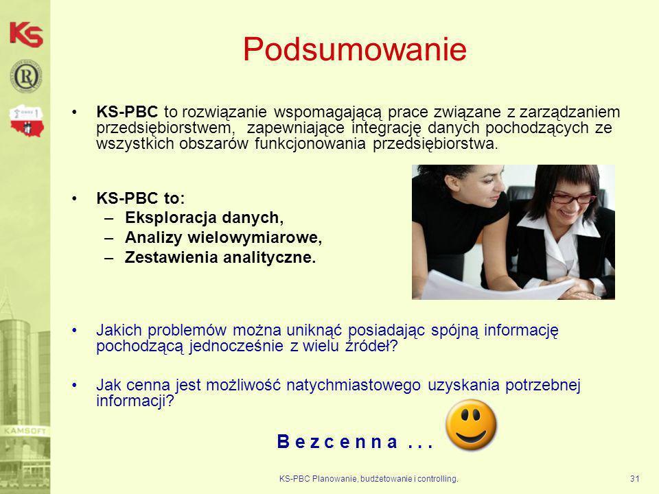 KS-PBC Planowanie, budżetowanie i controlling.31 Podsumowanie KS-PBC to rozwiązanie wspomagającą prace związane z zarządzaniem przedsiębiorstwem, zape