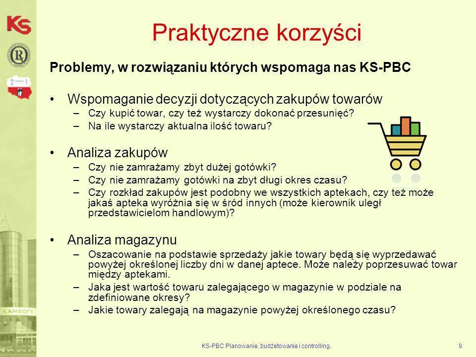 KS-PBC Planowanie, budżetowanie i controlling.30 Dalszy rozwój W roku 2011 planowany jest dalszy rozwój modelu dla KS-ZSA –Nowe zestawienia analityczne (gotowe rozwiązania) –Nowe analizy wielowymiarowe (poszukiwanie danych) –Rozbudowa struktur wspomagających planowanie Równolegle są rozwijane inne modele danych: 1.dla medycyny.