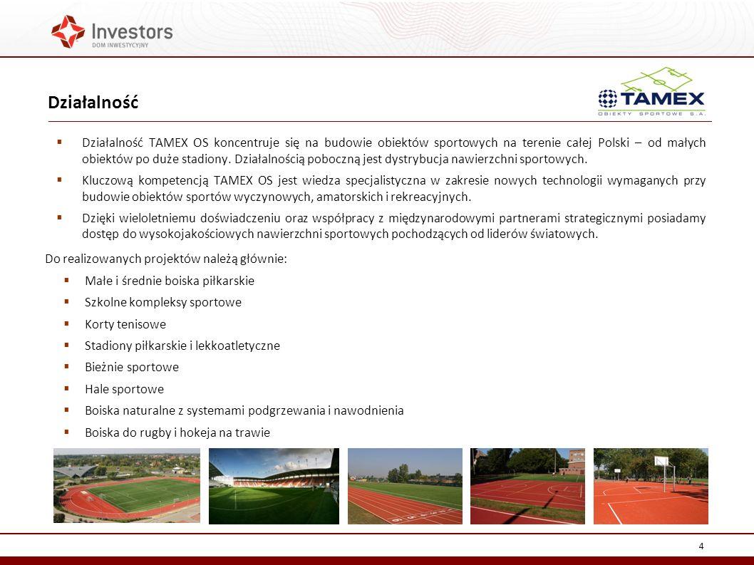 Działalność TAMEX OS koncentruje się na budowie obiektów sportowych na terenie całej Polski – od małych obiektów po duże stadiony.