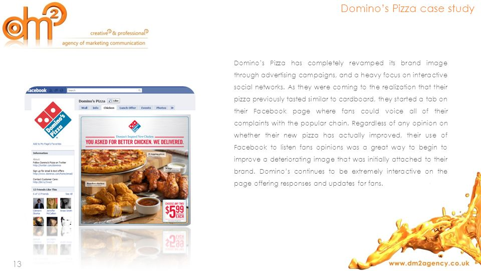 Dominos Pizza has completely revamped its brand image through advertising campaigns, and a heavy focus on interactive social networks. As they were co